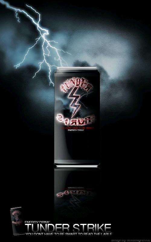 Thunder Strike Energy Drink design by dexdesign2002